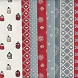 6 Fat Quarter Bundle Pack (Alps Red - Red, Silver Grey, Taupe & Beige) Co-ordinating French Fabric Mini Designs 100% Cotton by Textiles fran??ais