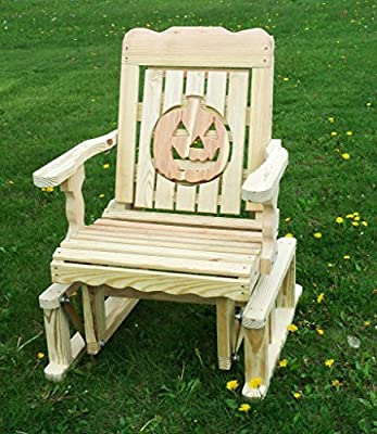 Pressure Treated Pine Designs Unfinished Outdoor Pumpkin Cutout Glider Chair