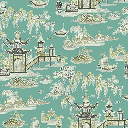 (York Wallcoverings WC7552 Waverly Classics II Peaceful Temple Removable Wallpaper Blues)