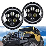 (Pack of 2) LX-LIGHT New design 7 Inch 60W Jeep LED Headlights with High Low Beam with Halo Ring for Jeep Wrangler