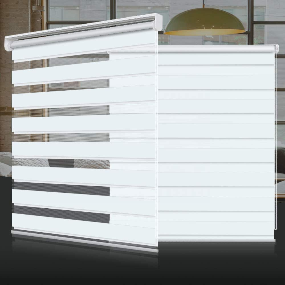 SEEYE Horizontal Window Shade Blind Zebra Dual Roller Blinds Day and Night Blinds Curtains,Easy to Install 43.3