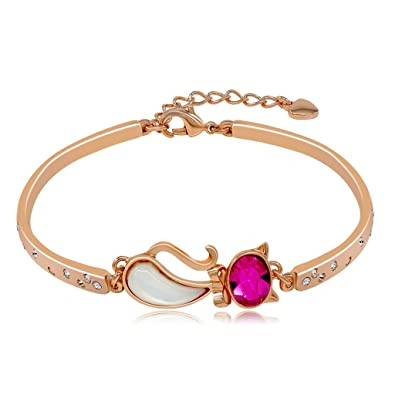 Kemstone Gold Plated Multi Color Crystals Flower Link Bracelet for Women,6.96