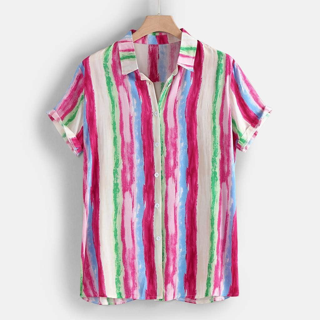 SoonerQuicker Camisas de Hombre T Shirt tee Blusa de Manga Corta de Manga Corta de algodón de Rayas Coloridas de Moda de Verano para Hombre: Amazon.es: Ropa y accesorios