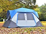 ALPHA CAMP 8 Person Instant Cabin Tent Camping/Traveling Family Tent Lightweight Rainfly with Mud Mat - 12' x 9' Blue/Grey