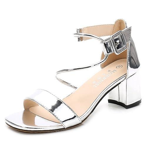 3e6cc6f97530fd Escarpins Femme Talons Sandales Bride Cheville Chaussure à Talon Haut Bout  Carrée Confortable Pumps Argent 34
