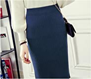 starmans Winter Skirts Women Stretch Woolen Pencil Skirt High Waist Office Lady Bodycon Skirtss Knee Length Skirt