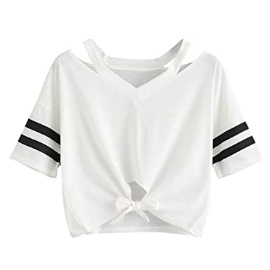 4fcede7d60bb49 Moonuy Frauen Crop Top, 2018 Sommermode Damen Kurzarm T-Shirt ...