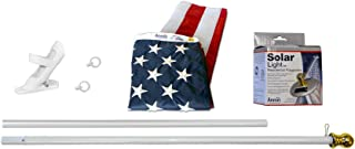 product image for American Flag and Flagpole Set - 6 ft. Aluminum Spinner Pole that Rotates 360 Degrees, Includes a Solar Light and US Flag 3x5 ft. SolarGuard Nylon by Annin Flagmakers, Mansion Kit Model 42914