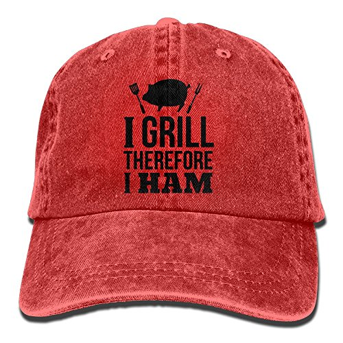 Richard I Grill Therefore I Ham Unisex Cotton Washed Denim Leisure Hats Adjustable Red