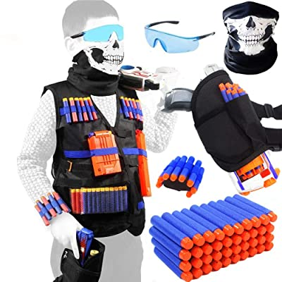 TAVEKI Tactical Vest Kit Compatible for Nerf Guns for Boys N-Elite Series with Foam Darts for Kids: Toys & Games