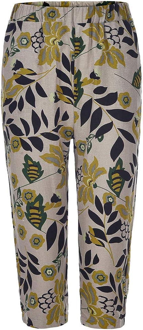 TRENDINAO 2020 Women High Waist Wide Leg Capri Pants Cotton Linen Vacation Style Print Summer Casual Beach Trousers