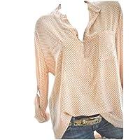 WWricotta Damen Bluse V-Ausschnitt Locker Hemd Vintage Blusenshirt Lose Casual Langarm Tunika Oversize Oberteile Große Größen S-5XL