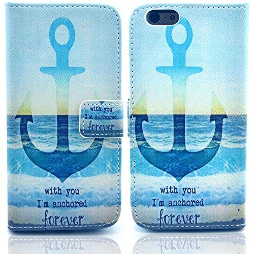 Voguecase® Schutzhülle Tasche Leder Brieftasche Hülle Case Cover für Apple iPhone 6 4.7 Zoll (anchored) + Gratis Universal Eingabestift