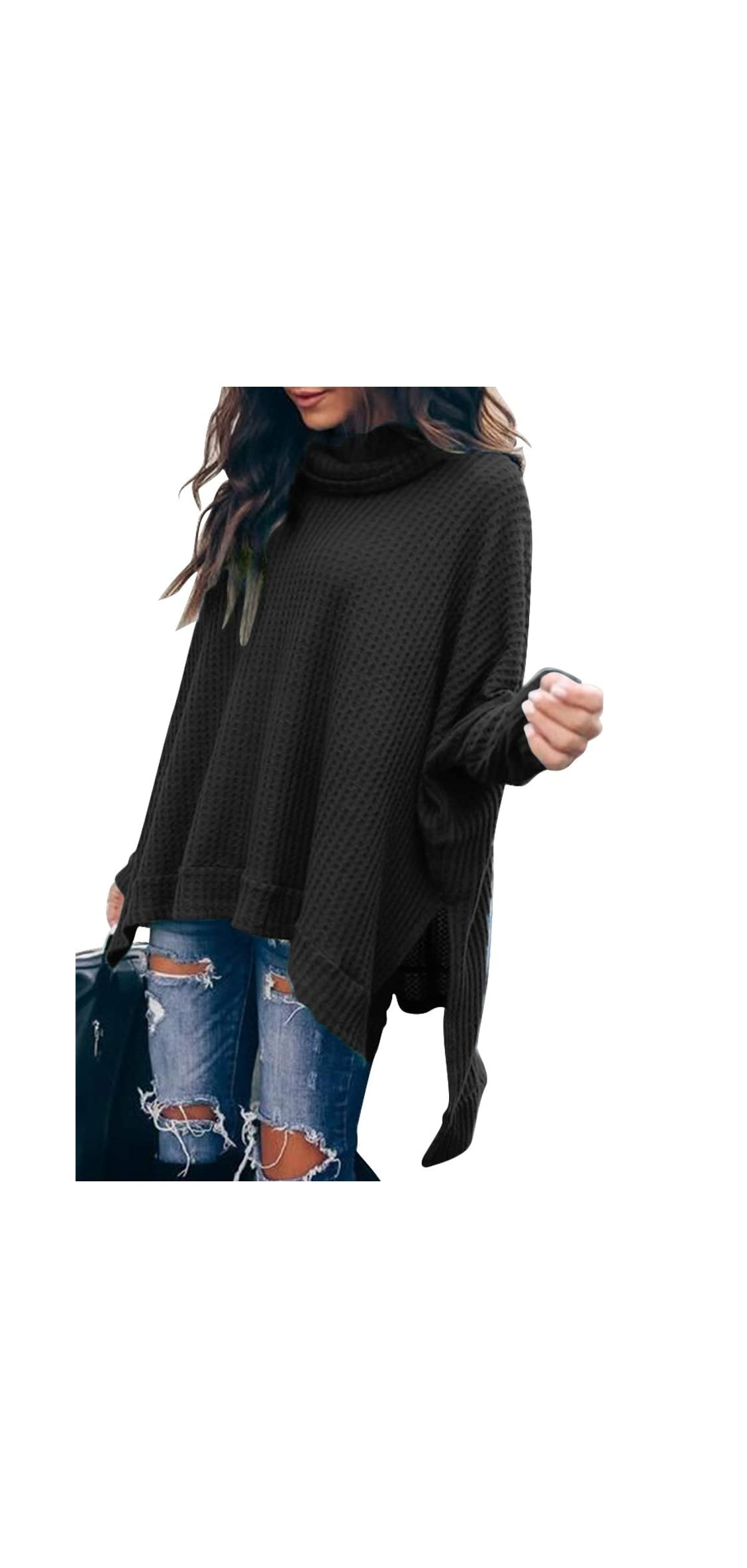 Women Turtle Cowl Neck Long Batwing Sleeve Waffle Knit