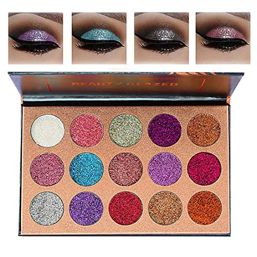 Beauty Glazed Pigmented 15 Colors Glitter Eyeshadow Palette Shiny Mineral Pressed Powder Eyes Long Stay On Make Up Eye Shadow Shimmer (Eye Shadow Mineral Powder)