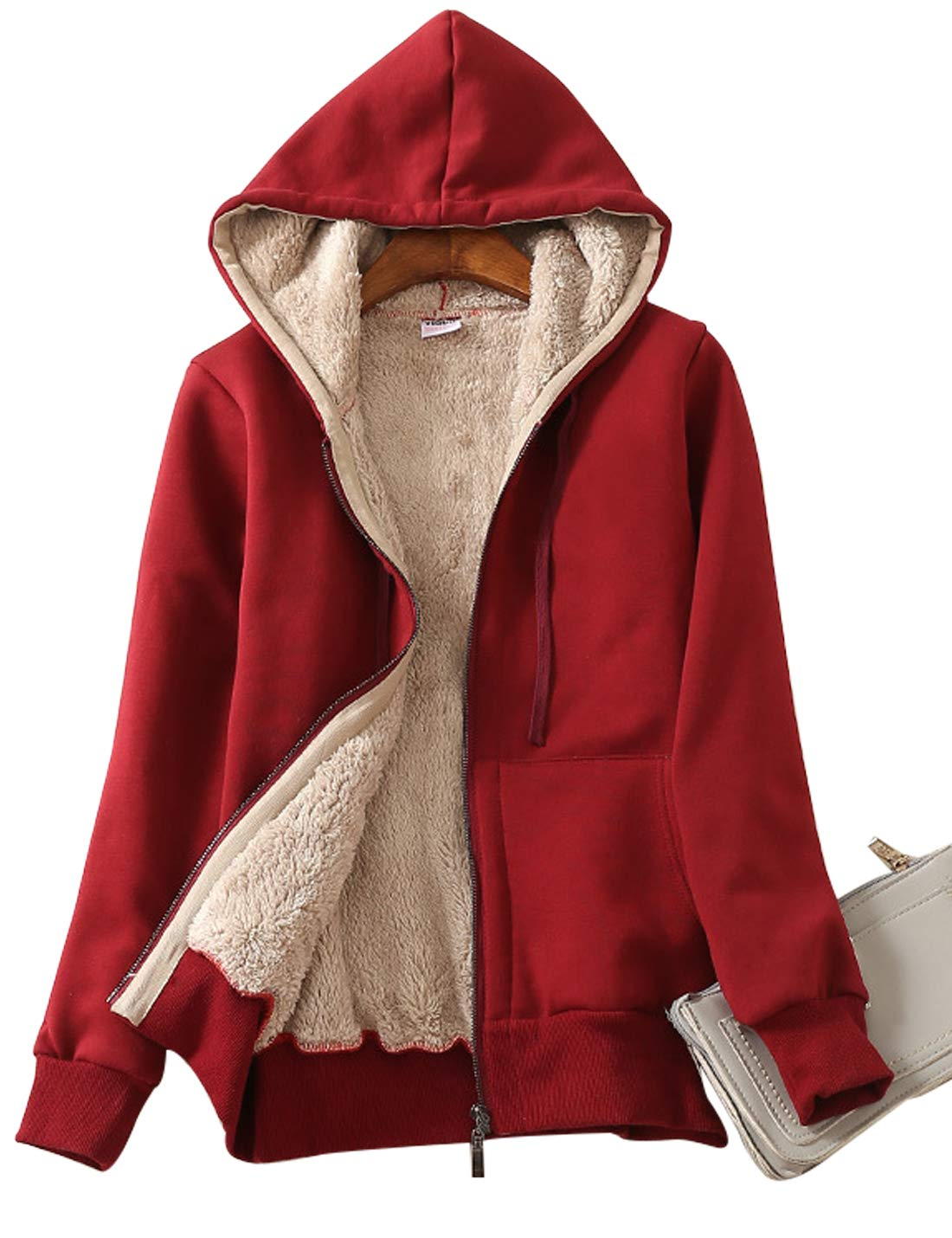 Yeokou Women's Casual Full Zip up Sherpa Lined Hoodie Sweatshirt Jacket Coat (X-Large, Wine Red)
