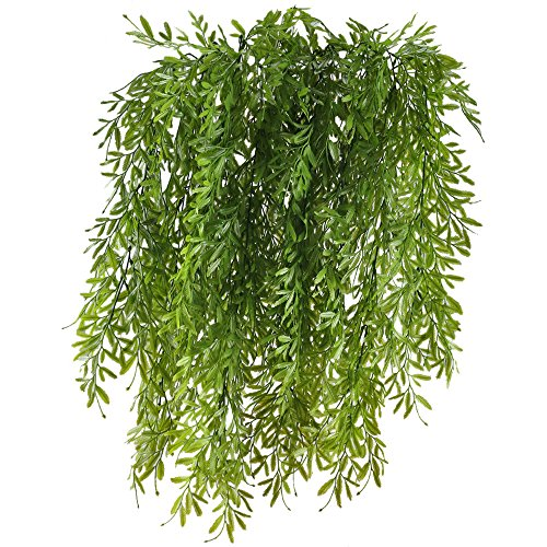 HUAESIN 2pcs Fake Hanging Vines Plastic Artificial Greenery Faux Trailing Plants for Wall Indoor Outdside Hanging Basket Planter Floral Wedding Balcony Garland Decor ()