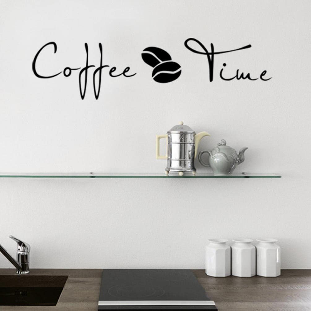 BIBITIME Coffee Time Wall Quotes Sticker English Lettering Saying Words Vinyl Decal for Coffee Store Shop Window Sticker PVC Wall Decals Home Art Decor Black, DIY 22.44 x 5.74
