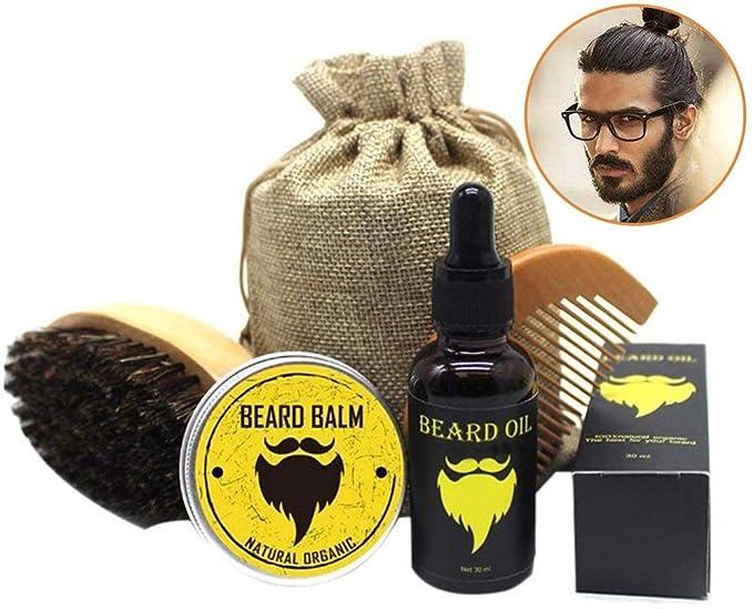 Salandens Kit de cuidado para barba incluye peine de madera bálsamo natural 30 g aceite 30 ml y una bolsa para transportar fácilmente El regal