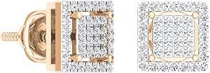Pendientes de tuerca de oro de 14 quilates con forma cuadrada de diamante blanco redondo de 0,32 quilates