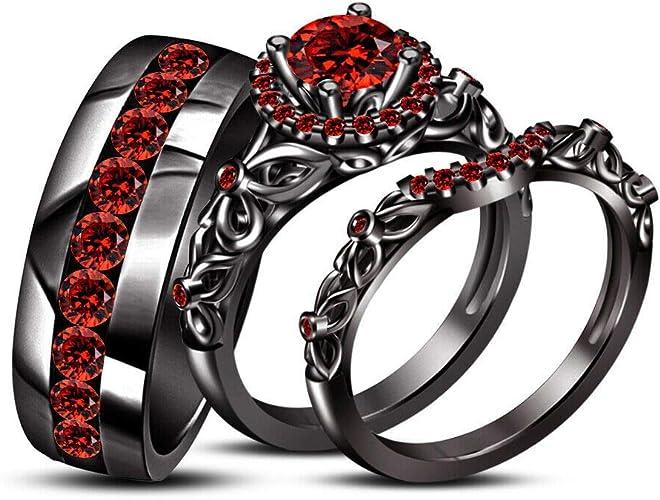14K Black Gold Over Round Cut Red Garnet Ladies Engagement Wedding Ring