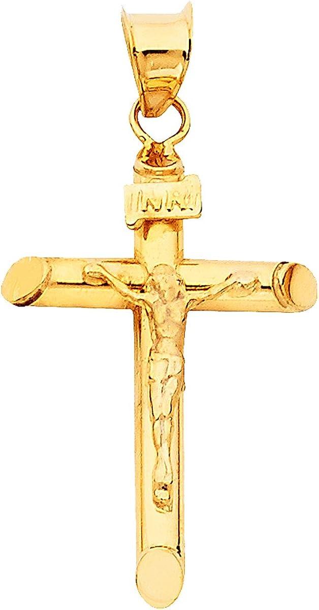 Solid 14k Yellow Gold Cross Charm Pendant 17mm x 7mm
