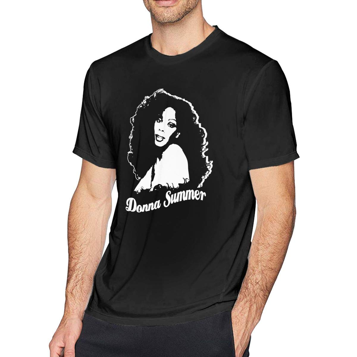 Donna Summer Cotton Youth Man Soft Short Sleeves T Shirt Top Black L