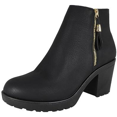 Señoras Bajo Medio Tacón Cremallera Ponerse Chelsea Tobillo Botas tamaño 36-41: Amazon.es: Zapatos y complementos