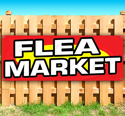 FLEA Market 13 oz Heavy Duty Vinyl Banner Sign with Metal Grommets, New, Store, Advertising, Flag, (Many Sizes Available) by Tampa Printing