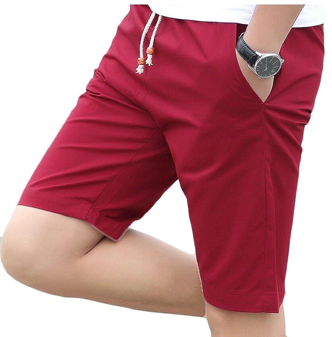 Gocgt Men's Cotton Sports Beach Elastic Waist Drawstring Shorts
