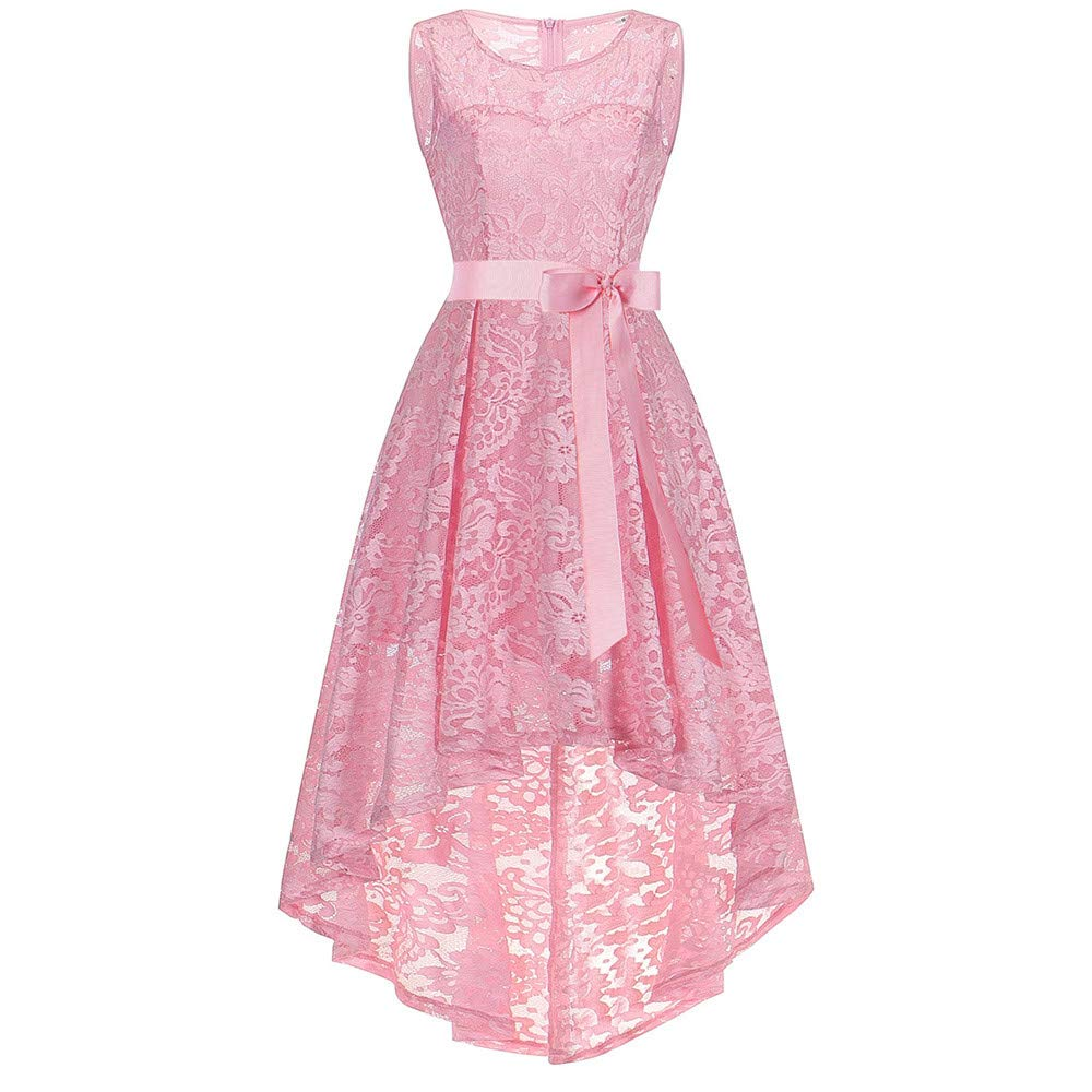 2019 Hot Women's Vintage O-Neck Floral Lace Sleeveless Hi-Lo Cocktail Formal Slim Swing Dress by G-Real Pink