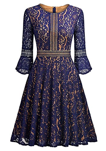 Ankosen Women's Vintage Floral Lace Long Sleeve Boat Neck Cocktail Formal Swing Dress Navy - Fashion Havana 1950's