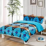 Southwest Design (Navajo Print) Queen Size 3pcs Set 16112 Turquoise Blue