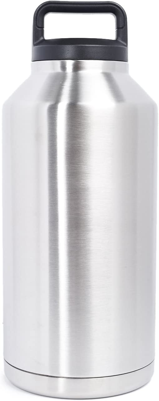 The Lobo 64 OZ Mega Capacity Insulated Leak & Spill Proof Stainless Steel Vacuum Bottle Thermos Transport Keeps Hot & Cold Beverages For Hours | Useful For Coffee Iced Water Tea Soup Alcoholic Drinks