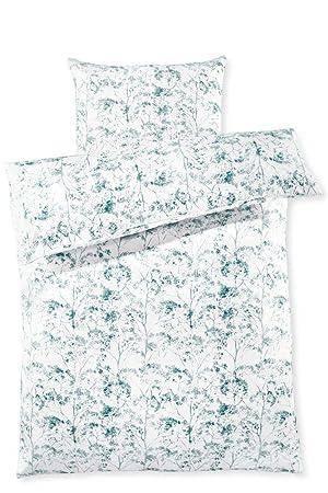 Tchibo Microfaser Bettwäsche Mit Floralem Muster Weiß Blau Mint