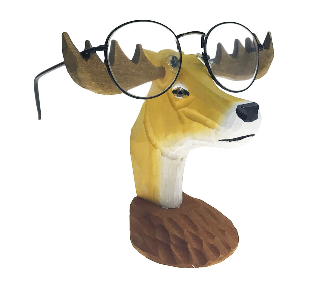 Alrsodl Vivid Natural Handmade Wood Carving Animal Eyeglass Holder Spectacle Stand For Children School Office Study Room(Elk)