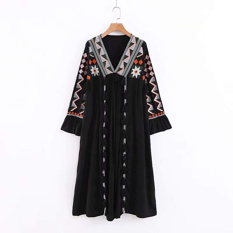 Black Pinkstar Vintage Embroidery V Neck Dress Women Long Sleeve Tassel Patchwork Dresses Female