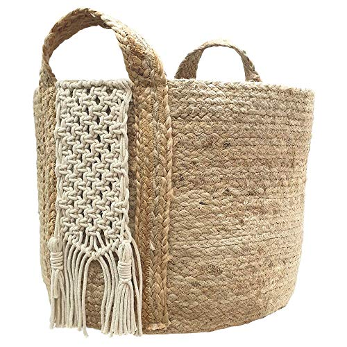 (Woven Jute and Macramé Storage Basket with Handles for Plants, Throw Blankets, Towels or Baby Toys - Natural Boho Decorative Décor - Large and Collapsible 1 inch X 12 inch x 14 inch by Gully and Vine)