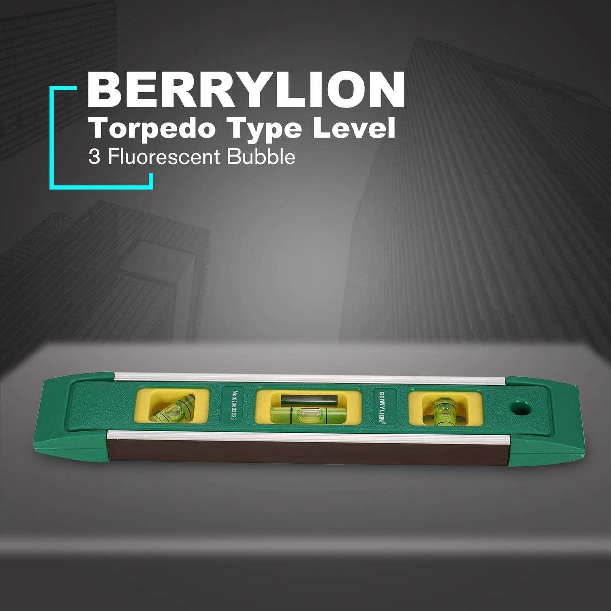 Verde BIYI BERRYLION Tipo de Torpedo Nivel 225 mm Gradienter magn/ético Spirit 3 Regla de Burbuja Fluorescente Herramienta de medici/ón Vertical Horizontal
