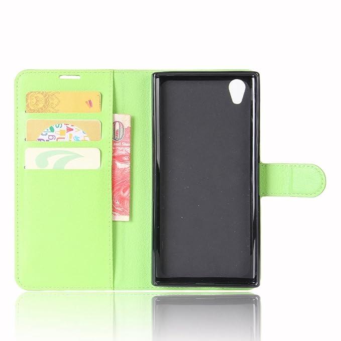 Guran® Funda de Cuero PU Para Sony Xperia L1 Smartphone Función de Soporte con Ranura para Tarjetas Flip Case Cover Caso-verde
