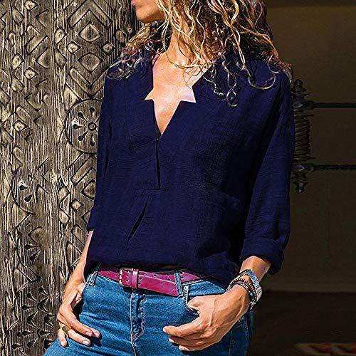 Maniche Camicetta Donna Tumblr S V Elegante Shirt Camicia Giacca Donna Xl Donna Weant Donna Lino Scollo Ragazza Maglietta Pulsante T Donna Blu Magliette Magliette Top Lunghe Felpe Top vw45q65gx