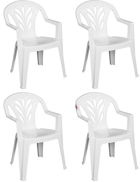 Sedie Di Plastica Bianche.Sf Savino Filippo 4 Pz Poltrona Sedia Taormina In Dura Resina Di Plastica Bianca Impilabile Con Braccioli Per Bar Campeggio Sagra Ristorante