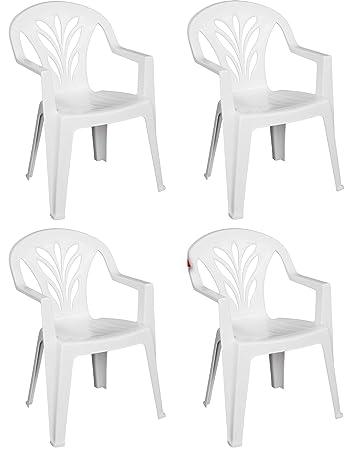 Sedie Di Plastica Bianche.Sf Savino Filippo 4 Pz Poltrona Sedia Taormina In Dura Resina Di