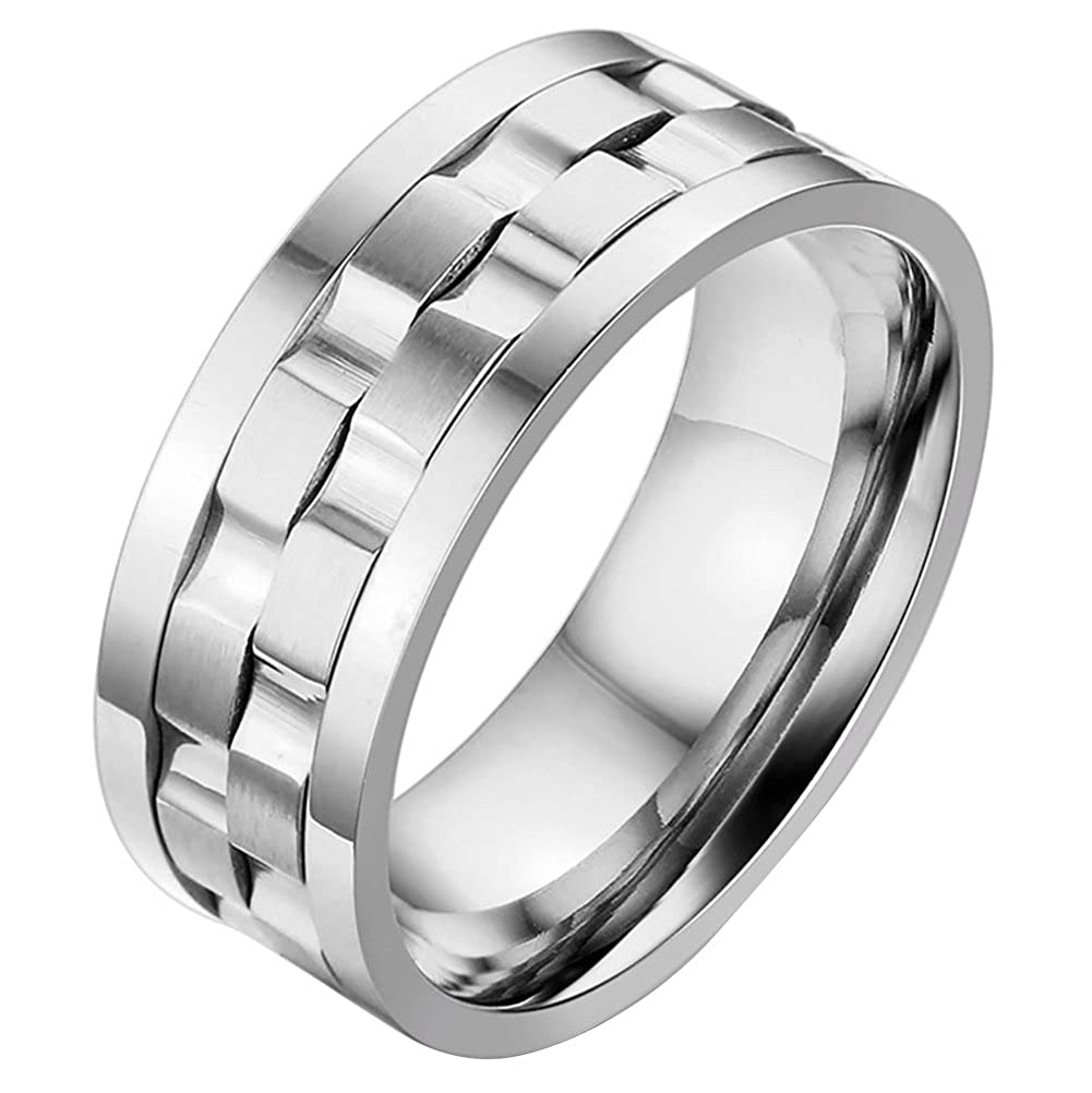 9MM Mens High Polished Stainless Steel Spinner Wedding Ring Bands Silver, Size 7 to 14 OIDEA O0080064-CA