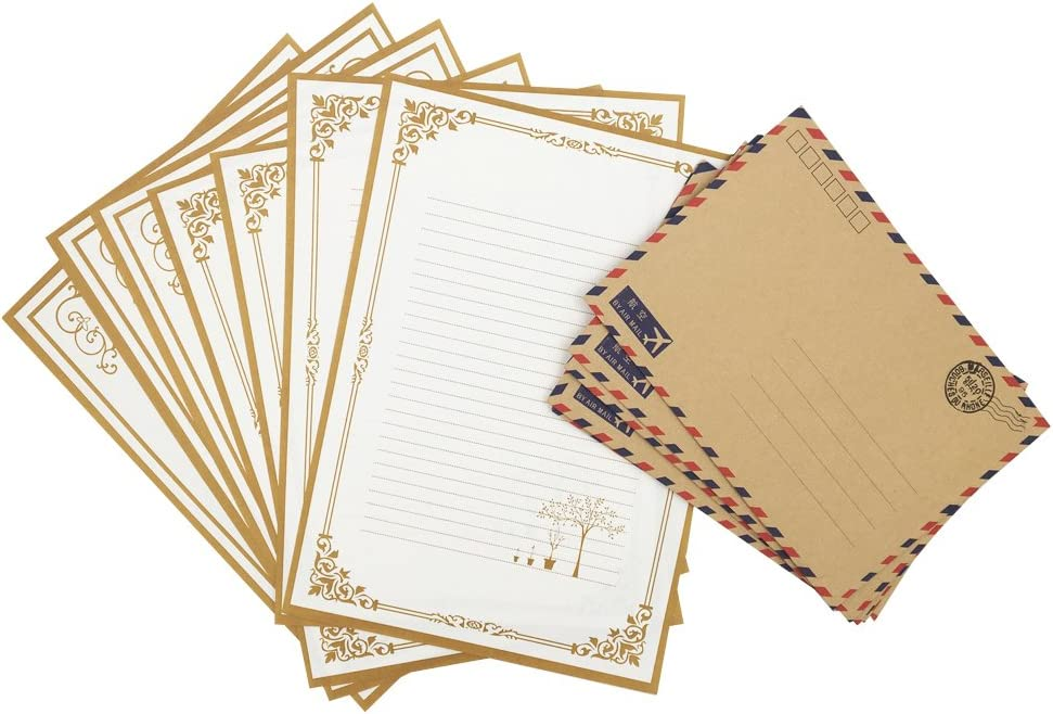 QingLanJian Vintage Kraft Paper Writing Paper with Envelopes Stationary Sets-48 Sheets and 30 AirMail Envelopes,White