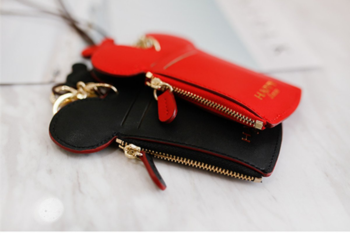 YIEASDA Travel Neck Pouch, Cute Small Fashion Student ID Card Case Holder Coin Wallet Purse for Women/Girls/Children (Red 2pack) by YIEASDA (Image #5)