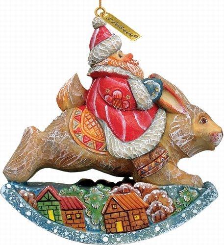 G Debrekht Santa On Rabbit Figurine Ornament 63131