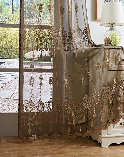 BW0057 Gorgeous Sheer Curtain Retro Europern Style 3D Pendant Embroidered Window Treatment