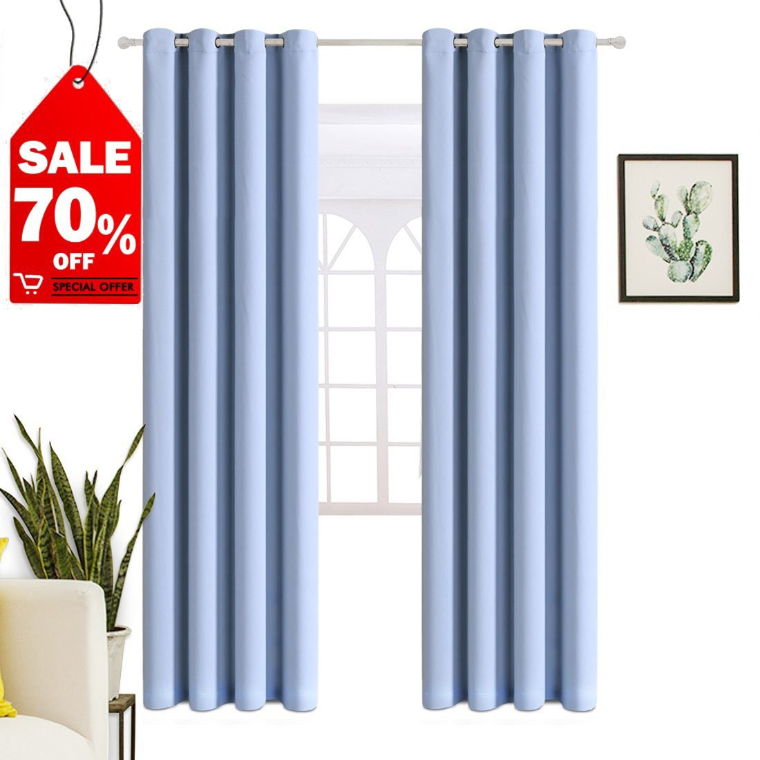WarmHarbor Thermal Insulated Blackout Curtains ❤️for Living Room and Bedroom, ❤️2 Panels (52x63 in, Beige)