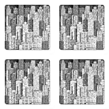 Lunarable New York Coaster Set of Four, High Buildings of Metropolitan Life Skyscrapers and Twin Towers, Square Hardboard Gloss Coasters for Drinks, Charcoal Grey White and Grey
